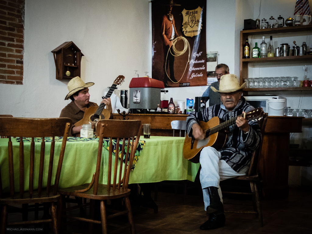Local Mexican musicians enjoy their music in a restaurant in the old part of Sahagun, Mexico